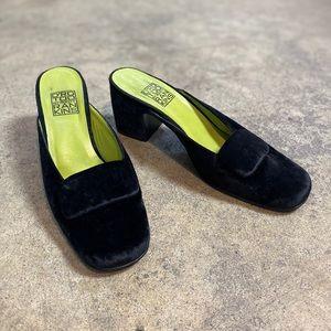Vintage D'RO TOO Crushed Velvet Mule Heels 8.5